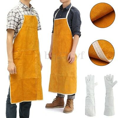 Welding Welder Heat Insulation Protect Clothing Cowhide Leather Apron / Gloves