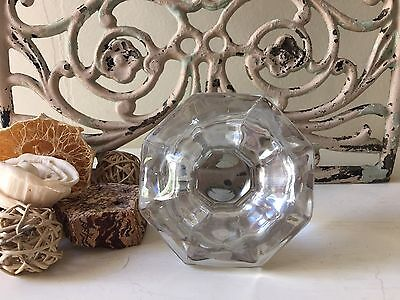 Vintage Clear Crystal Glass Hexagonal Finial Stopper Top Decanter Large MCM