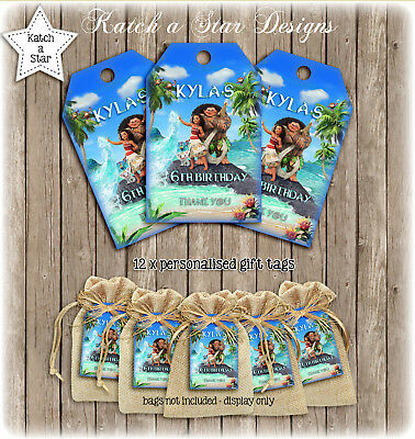 Moana Birthday Party Personalised Thank You Tags X 12
