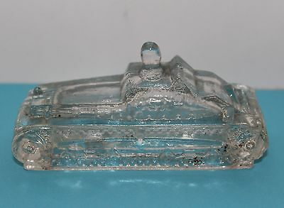 Vintage Figural Glass Army Tank Candy Container