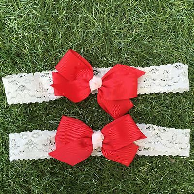 2PCS Girl Newborn Baby Toddler Infant Lace Flower Headband Hair Bow Band-Red