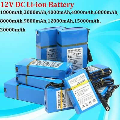 DC 12V 1800-20000mAh Rechargeable Portable Power Li-ion Battery For CCTV Camera