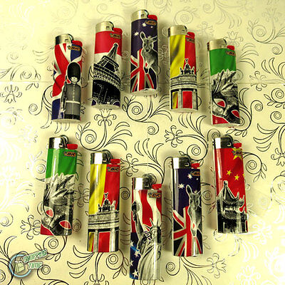 10 BIC Tattoo LIGHTER Child Guard Cigarette Tobacco Maxi Big J26 Cigar Large
