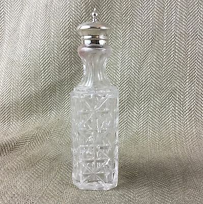 Antique Glass Pepper Shaker Pot Pepperette Silver Plated Crystal