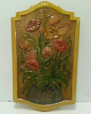 Antique Vintage Art Deco Chalkware Plaster Picture Wall Plaque