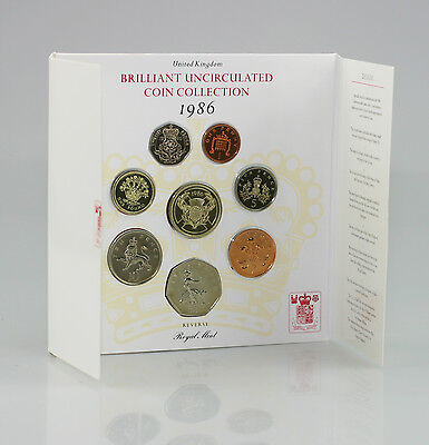 1986 Brilliant Uncirculated Coin Set Collection, Royal Mint 8 Coin Pack (FZ125)
