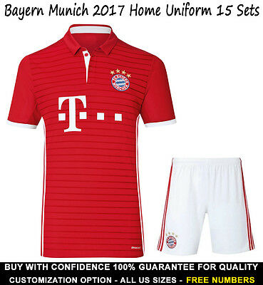 Bayern Munich Home Soccer Uniform 15 Sets US All Sizes Free Numbers FOOTYSPORTS