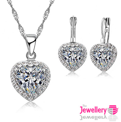 925 Sterling Silver 10mm Crystal Heart Pendant Necklace Earring Set