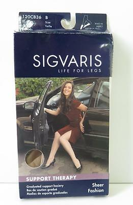 New SIGVARIS Women's Support Sheer High Knee Hose Stocking Suntan Size B