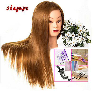 """New 28"""" Long Hair Cosmetology Mannequin hairdressing Practice Training Head Mode"""