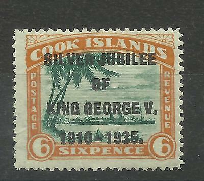 "Cook Islands, 1935 Sg 115A, 6d green & Orange Narrow ""N"" in King, LM/M [213]"