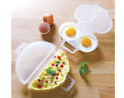 Microwave Egg Poacher and omelette maker Kitchen Cooking Convenience cook new
