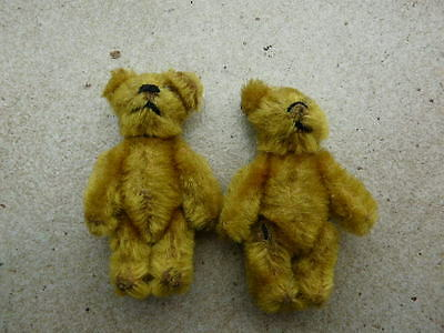 schuco teddy pair 2.5 inch twin bears mohair tin jointed antique