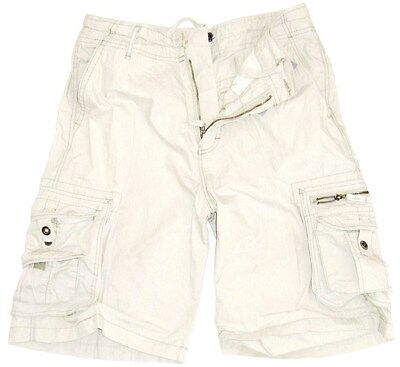 GENTS COMBAT CARGO SHORTS Mens cream pre washed baggy shorts 100% Cotton M & L
