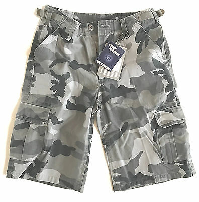 GENTS RIP-STOP COMBAT CARGO SHORTS Mens heavy duty Black Camouflage 100% Cotton