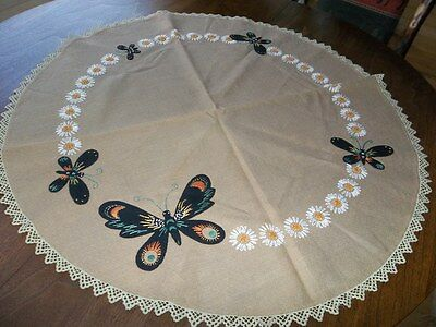Arts & Crafts Mission Embroidered Linen Table Round With Butterflies