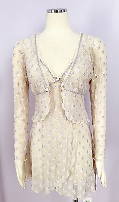Claire Pettibone VTG Floral Embroidered Ivory Lace Set Chemise & Bed Jacket M