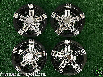 "8"" Black & Chrome Universal Golf Cart Wheel Covers Hub Caps Hubcaps Set of 4"