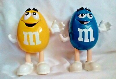 "Vintage Set of 2 M&M Candy Dispenser Characters Figures 6"" (Blue & Yellow)"