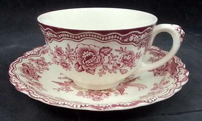 Crown Ducal BRISTOL PINK Oversize Cup & Saucer Cream Background GREAT CONDITION