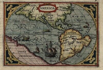 Ortelius North & South America sea monsters tall ship c.1601 rare miniature map