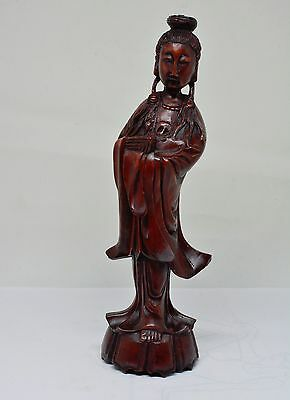 Antique Chinese Carved Wood Kwan-Yin Figurine ~ 7.5 Inches Tall ~