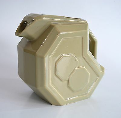 Vintage Geometric Cubist Art Deco Water Pitcher 1940s. Alamo Pottery #759.