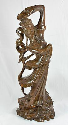 Early Chinese Carved Wood Figurine ~ Large 15 Inches Tall ~