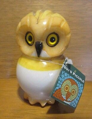 Genuine Alabaster Owl Paperweight Hand-Painted by Ducceschi Italy Gufo Piccolo