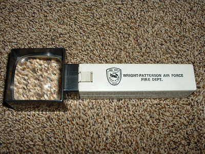 Vintage Lighted Magnifying  Glass Usaf Wright Patterson Air Force Fire Dept