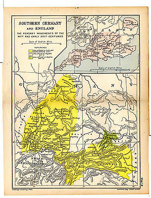 1912 ORIGINAL map Southern Germany and England The Peasant Movements Map 13