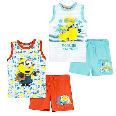Minions Movie Boys Summer Short Sleeve Outfit Set Top Vest Shorts 2-8 years NEW