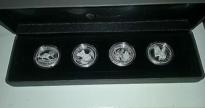 2015 Australia $1 1 Oz Silver High Relief Proof Coins -Set of 4 Coins W/Box&COA
