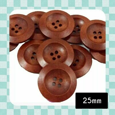 Round Wood Buttons - BROWN - 25 mm - Scrapbooking - Crafting - Sewing -UK Seller