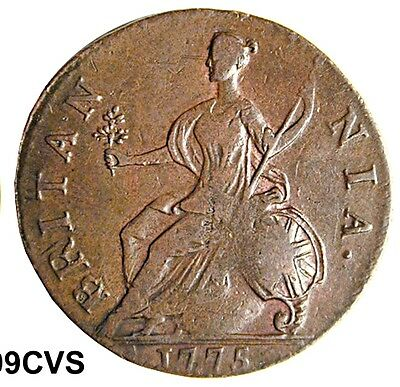 Authentic American Revolutionary War Coin 1775 Strong Date (75199CVS Inv. #)