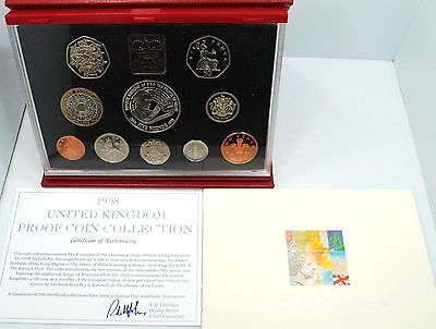 Great Britain 1998 Royal Mint Proof Set UK (Deluxe) Coins Red, with COA