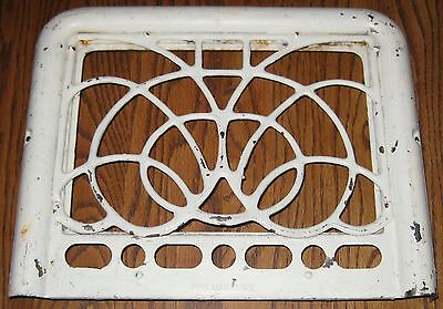 Antique 1903 HEATER GRATE grill vintage white paint metal architectural salvage
