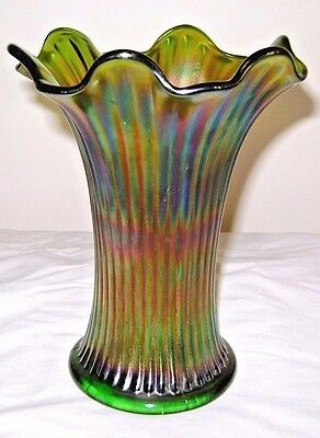 Antique Northwood Carnival Green Thin Rib Glass Vase