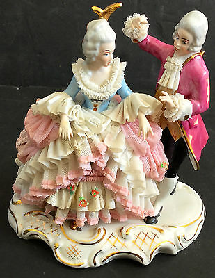 Dresden Germany Porcelain Lace Figure Couple Period Dress Large