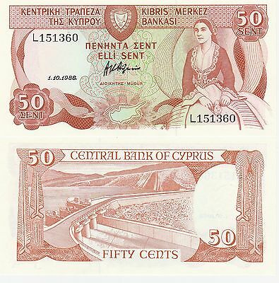 Cyprus 50 Cents Banknote 1.10.1988 Uncirculated Condition Cat#52-1360