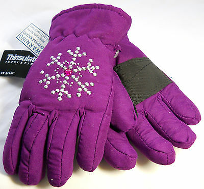 Falls Creek Thinsulated Mittens 4-6x Purple with Metal Studded Snowflakes