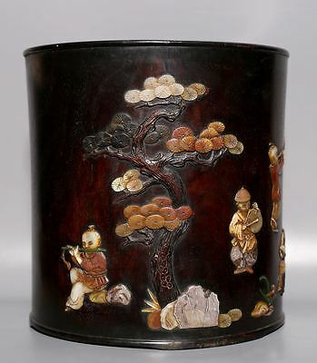 Large Rare Chinese Antique Rosewood with Shells Carving Kids Brush Pot A29