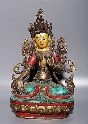 Large Rare Old Chinese Tibetan Bronze Buddha Statue Collection A30
