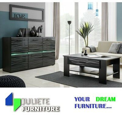 Black Living room furniture set_commode_BLACK SIDEBOARD + coffee table + LED