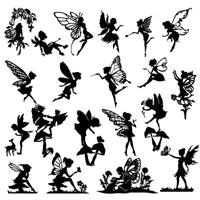 Die Cut Outs Silhouette FAIRIES x 20 & Deer set, card shape scrapbook Fairy jar