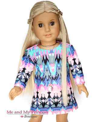 WATERCOLOR DRESS & NECKLACE made for 18 inch American Girl Doll Clothes