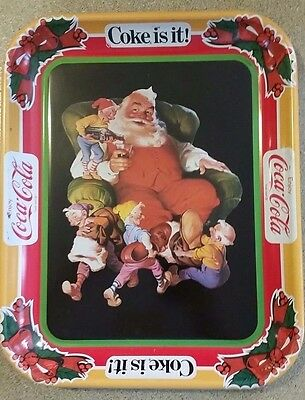 Coca Cola Tray with Santa and His Elves   Coke is it!