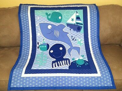 """REDUCED! Handmade,""""Sea friends"""", 36x44in, boys, EMROIDERED baby quilted blanket"""