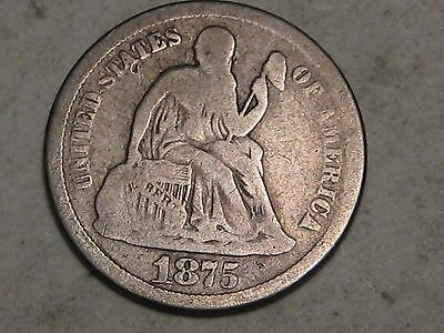 1875-S ABOVE BOW VARIETY  LIBERTY SEATED DIME - 12 PHOTOS  (b)