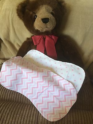 Baby Burp Cloths Baby Pink And White Dots And Chevrons Cotton Flannel Handmade